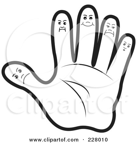 Illustration of a Coloring Page Outline Of A Hand With Finger Faces