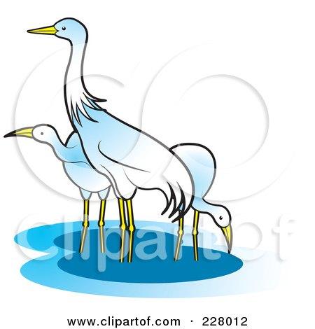 Royalty-Free (RF) Clipart Illustration of Three Cranes Wading by Lal Perera