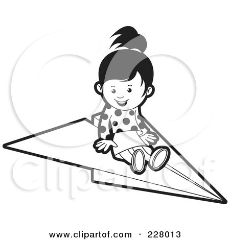Clipart Of A Black And White Paper Airplane Royalty Free Vector