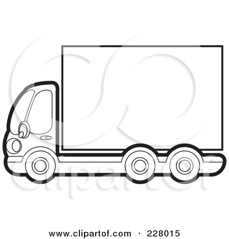 Royalty-Free (RF) Clipart Illustration of a Coloring Page Outline Of A Big Rig With A Blank Trailer by Lal Perera