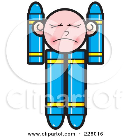 Royalty-Free (RF) Clipart Illustration of a Crayon Boy Pouting by Lal Perera