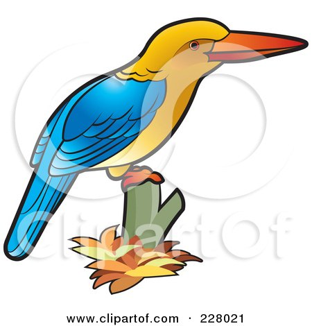 Royalty-Free (RF) Clipart Illustration of a Perched Kingfisher Bird by Lal Perera