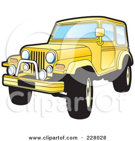 Royalty-Free (RF) Clipart Illustration of a Yellow Jeep Wrangler by Lal Perera