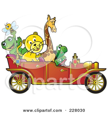 Royalty-Free (RF) Clipart Illustration of Happy Animals Riding In A Red Vintage Car by Lal Perera