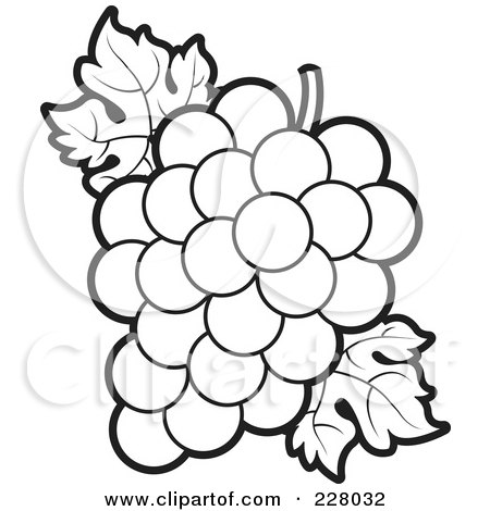 Royalty-Free (RF) Clipart Illustration of a Coloring Page Outline Of A Bunch Of Grapes And Leaves by Lal Perera