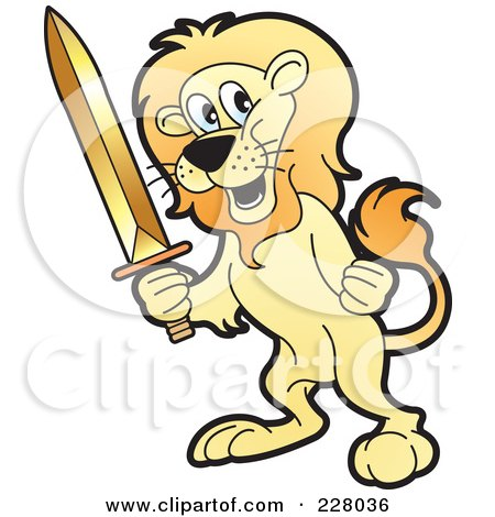 Royalty-Free (RF) Clipart Illustration of a Lion Holding A Sword by Lal Perera