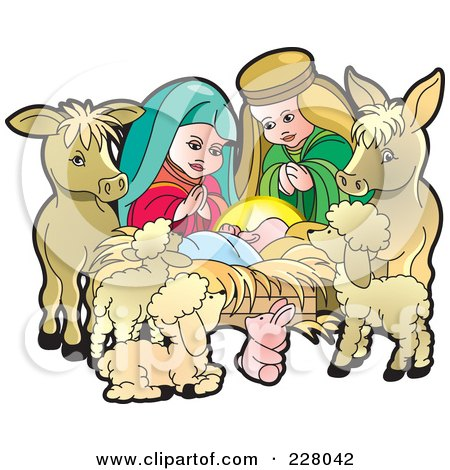 Nativity Scene With Baby Jesus And Animals Posters, Art Prints