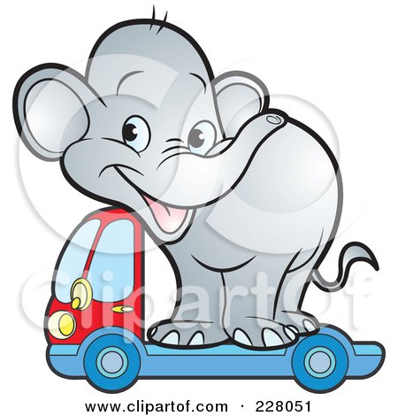 Royalty-Free (RF) Clipart Illustration of a Cute Elephant On A Lorry Truck by Lal Perera