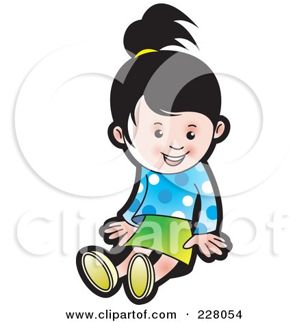 Royalty-Free (RF) Clipart Illustration of a Cute Girl Sitting by Lal Perera