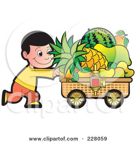 Royalty-Free (RF) Clipart Illustration of a Boy Pushing A Fruit Cart by Lal Perera