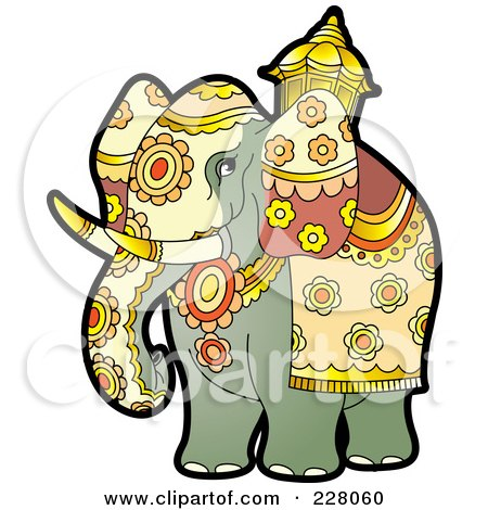 Royalty-Free (RF) Clipart Illustration of a Pageant Elephant by Lal Perera