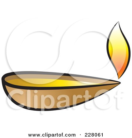 Royalty-Free (RF) Clipart Illustration of a Clay Oil Lamp by Lal Perera