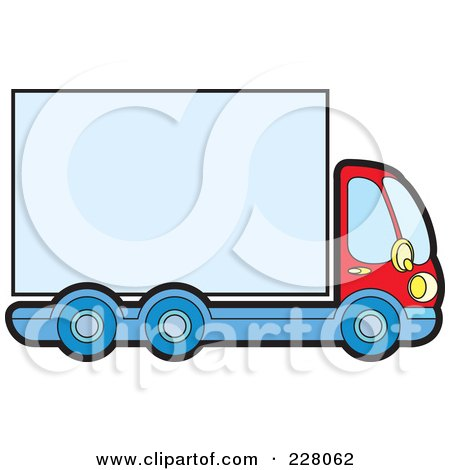Royalty-Free (RF) Clipart Illustration of a Big Rig With A Blank Trailer by Lal Perera
