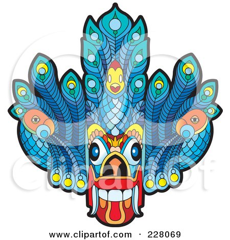 Royalty-Free (RF) Clipart Illustration of a Sri Lankan Devil Dancing Mask by Lal Perera