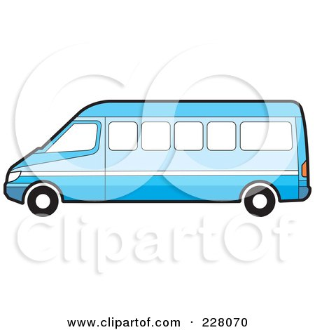 Royalty-Free (RF) Clipart Illustration of a Long Blue Van by Lal Perera