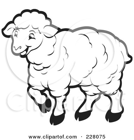 coloring page outline of a happy sheep posters  art prints Fish Bowl Clip Art Fish Outline Clip Art