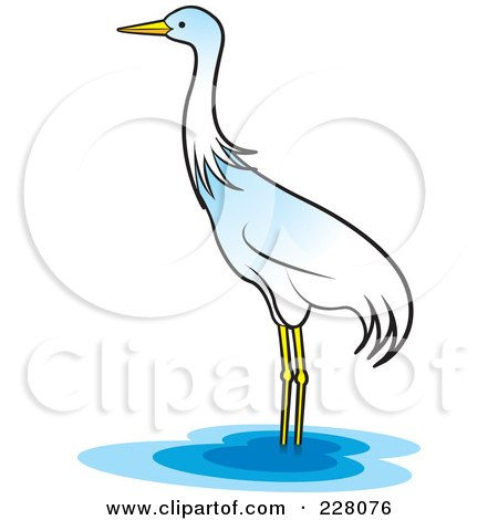 Royalty-Free (RF) Clipart Illustration of a Lone Crane Wading by Lal Perera