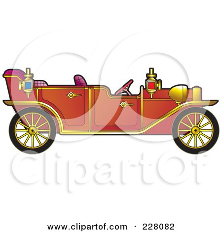 Royalty-Free (RF) Clipart Illustration of a Red Vintage Car by Lal Perera