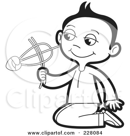 Royalty-Free (RF) Clipart Illustration of a Coloring Page Outline Of A Sinhala Boy Playing With A Toy by Lal Perera