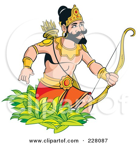 Royalty-Free (RF) Clipart Illustration of a Sinhala King With A Bow And Arrows by Lal Perera