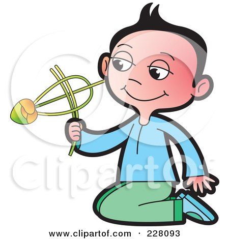 Royalty-Free (RF) Clipart Illustration of a Sinhala Boy Playing With A Toy by Lal Perera