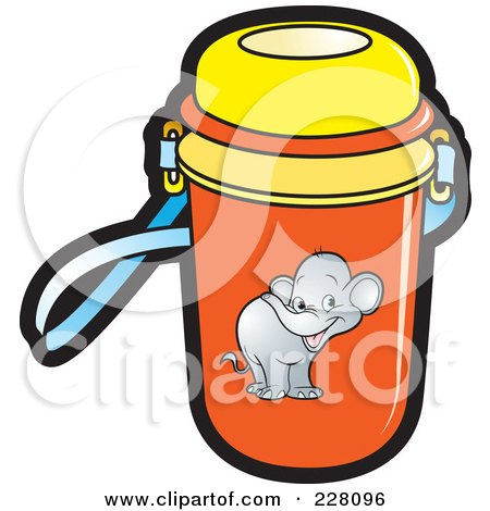 Royalty-Free (RF) Clipart Illustration of a Water Bottle With An Elephant Graphic by Lal Perera