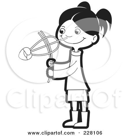 Royalty-Free (RF) Clipart Illustration of a Coloring Page Outline Of A Sinhala Girl Playing With A Toy by Lal Perera