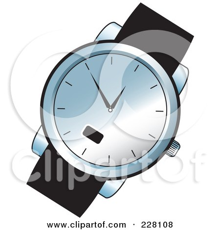 Royalty-Free (RF) Clipart Illustration of a Black And Chrome Wrist Watch by Lal Perera