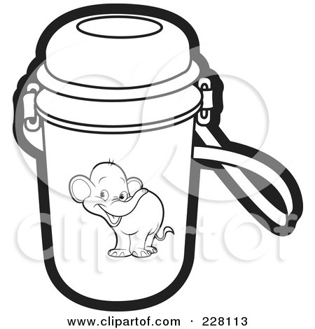 Royalty-Free (RF) Clipart Illustration of a Coloring Page Outline Of A Water Bottle With An Elephant Graphic by Lal Perera