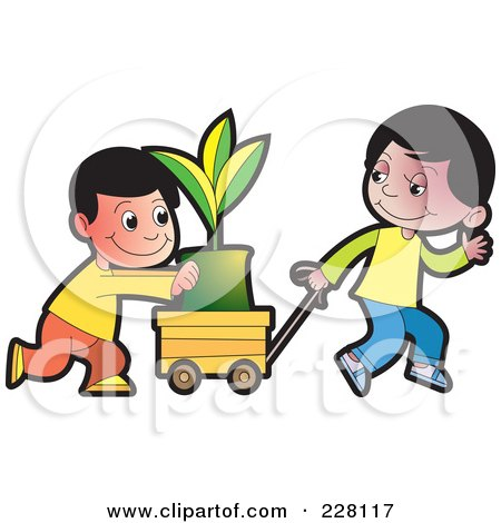 Royalty-Free (RF) Clipart Illustration of Two Boys Pushing A Plant In A Cart by Lal Perera