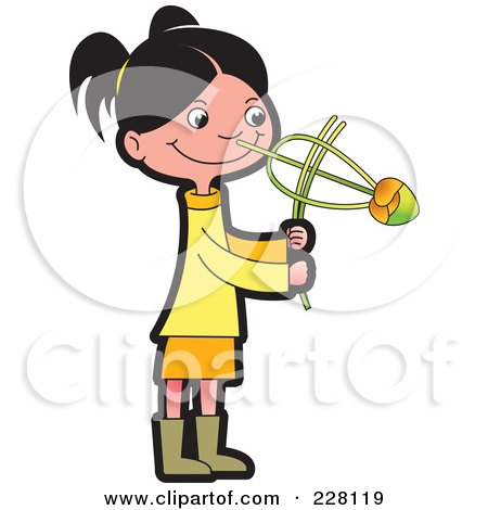 Royalty-Free (RF) Clipart Illustration of a Sinhala Girl Playing With A Toy by Lal Perera