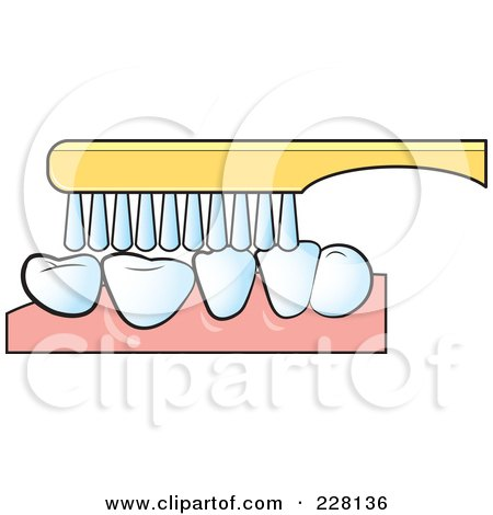 Royalty-Free (RF) Clipart Illustration of a Tooth Brush Brushing Teeth by Lal Perera