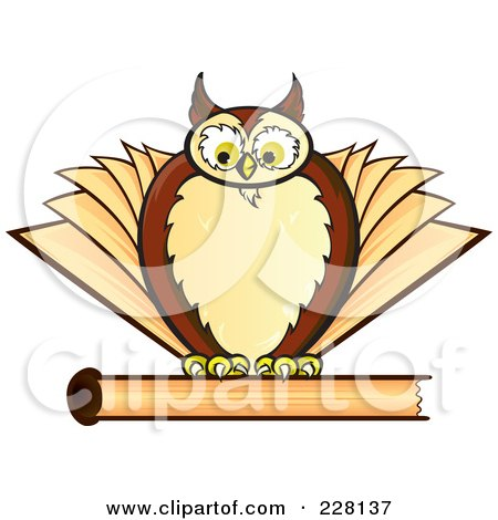 Royalty-Free (RF) Clipart Illustration of a Chubby Owl On Top Of A Closed Book by Paulo Resende