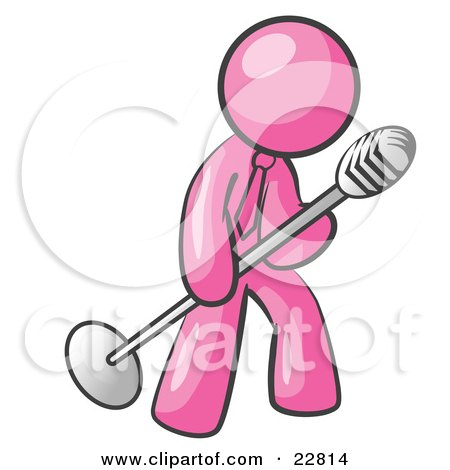 Clipart Illustration of a Pink Man In A Tie, Singing Songs On Stage During A Concert Or At A Karaoke Bar While Tipping The Microphone by Leo Blanchette