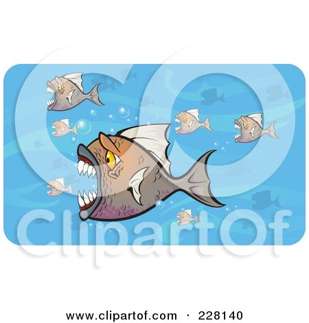 Royalty-Free (RF) Clipart Illustration of a Crowd Of Attacking Piranha Fish In Blue Water by Paulo Resende