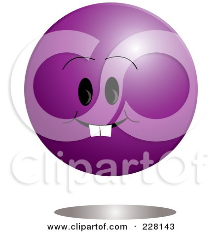 Royalty-Free (RF) Clipart Illustration of a Grinning Purple Ball Emoticon Character by Pams Clipart