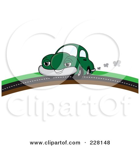 Royalty-Free (RF) Clipart Illustration of a Happy Green Car Putting On A Road Over A Hill by Pams Clipart