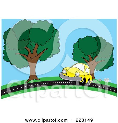 Royalty-Free (RF) Clipart Illustration of a Yellow Car Driving On A Country Road by Pams Clipart