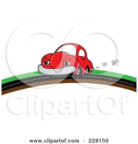 Royalty-Free (RF) Clipart Illustration of a Happy Red Car Putting On A Road Over A Hill by Pams Clipart
