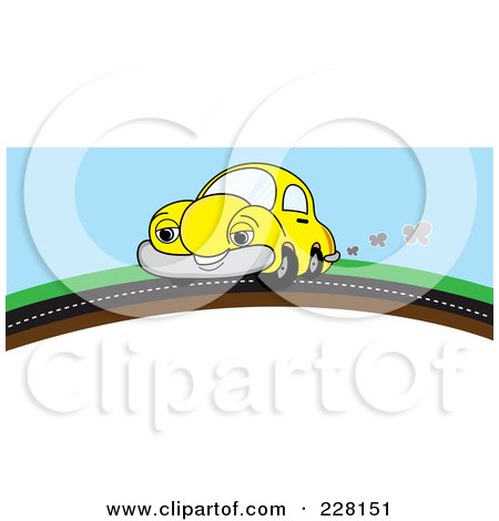 Royalty-Free (RF) Clipart Illustration of a Happy Yellow Car On A Road Over A Hill by Pams Clipart