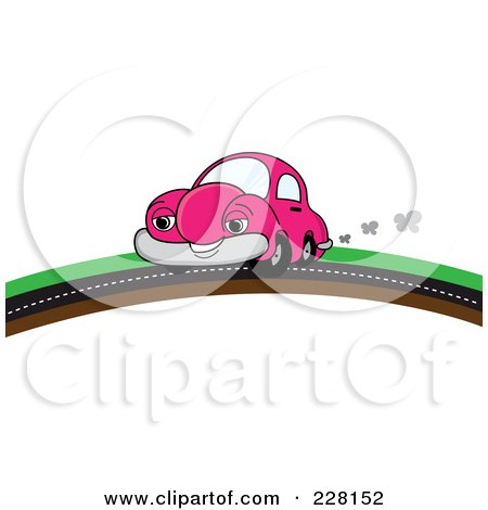 Royalty-Free (RF) Clipart Illustration of a Happy Pink Car Putting On A Road Over A Hill by Pams Clipart