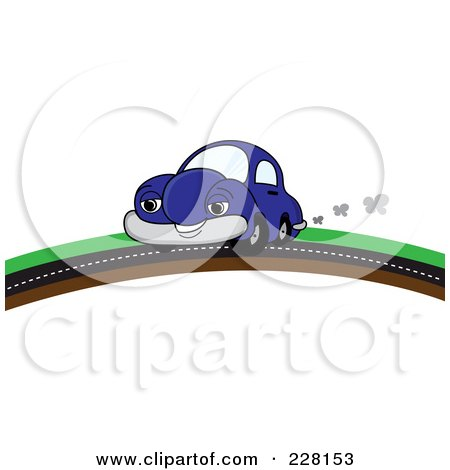 Royalty-Free (RF) Clipart Illustration of a Happy Blue Car Putting On A Road Over A Hill by Pams Clipart