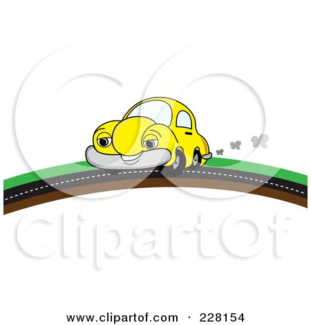 Royalty-Free (RF) Clipart Illustration of a Happy Yellow Car Putting On A Road Over A Hill by Pams Clipart