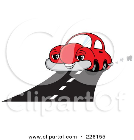 Royalty-Free (RF) Clipart Illustration of a Happy Red Car Driving On A Road by Pams Clipart
