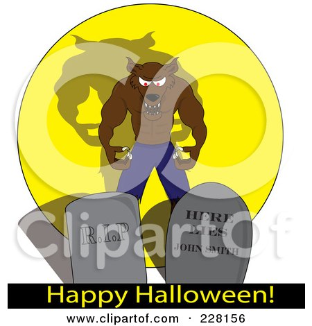 Royalty-Free (RF) Clipart Illustration of a Snarling Werewolf Behind Tombstones Over A Happy Halloween Greeting by Pams Clipart