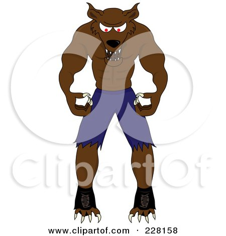 Royalty-Free (RF) Clipart Illustration of a Snarling Werewolf by Pams Clipart
