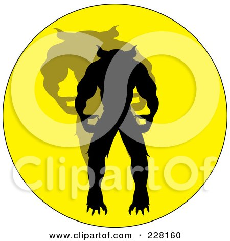 Royalty-Free (RF) Clipart Illustration of a Silhouetted Werewolf And Shadow On A Yellow Circle by Pams Clipart