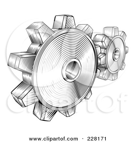 Royalty-Free (RF) Clipart Illustration of Black And White Retro Gear Cogs by AtStockIllustration