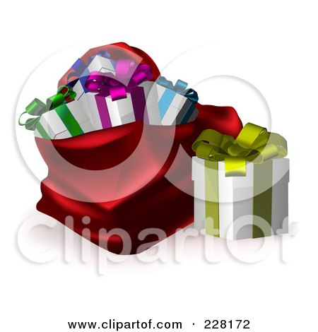 Royalty-Free (RF) Clipart Illustration of a Gift Box Beside A Red Santa Sack by AtStockIllustration