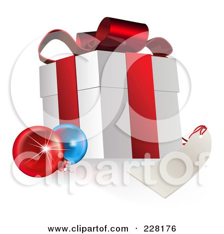 Royalty-Free (RF) Clipart Illustration of a 3d Gift Box With Ornaments And A Blank Tag by AtStockIllustration